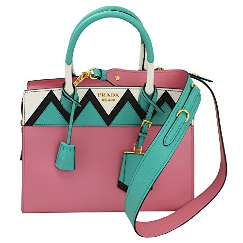 Prada Pink Leather Tote Bag With Shoulder Strap 1ba046 Begonia+Giadal