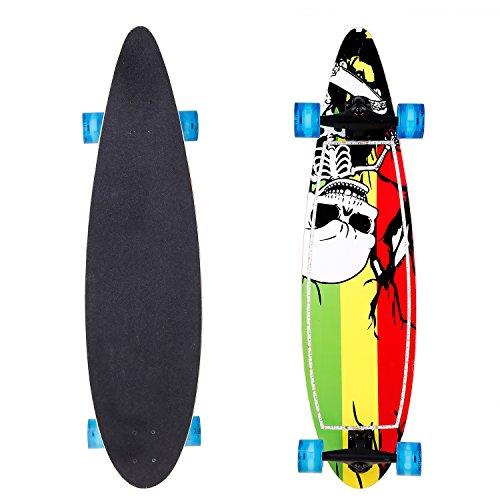 "Anfan Mini Cruiser Penny Style Skateboard 22"" Complete Skate Board for Teens Kids Age 4 Up(US Stock) (Skeleton)"