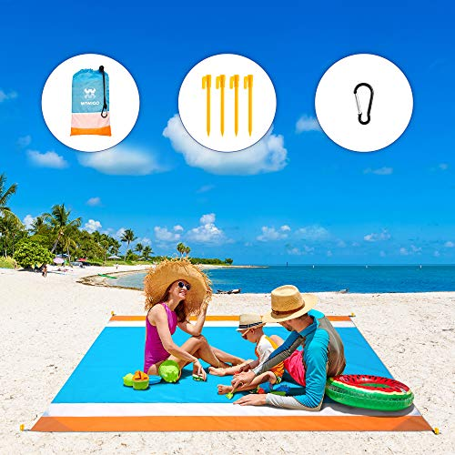 WIWIGO Sand Free Beach Blanket Lightweight Waterproof Beach Mat, Outdoor Portable Picnic Mat for Travel, Camping, Hiking Compact Sand Proof Mat Quick Drying