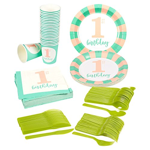 Disposable-Dinnerware-Set-Serves-24-Girls-First-Birthday-Party-Supplies-1st-Birthday-Party-Supplies-Includes-Plastic-Knives-Spoons-Forks-Paper-Plates-Napkins-Cups-Teal-Pink-Green
