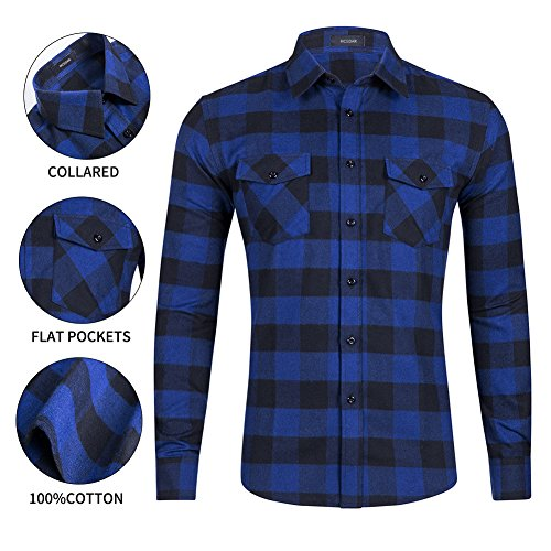 Flannel Shirts-Long Sleeve Casual Button Down Slim Fit Outfit for Camp Hanging Out or Work (L, BLUE) ()