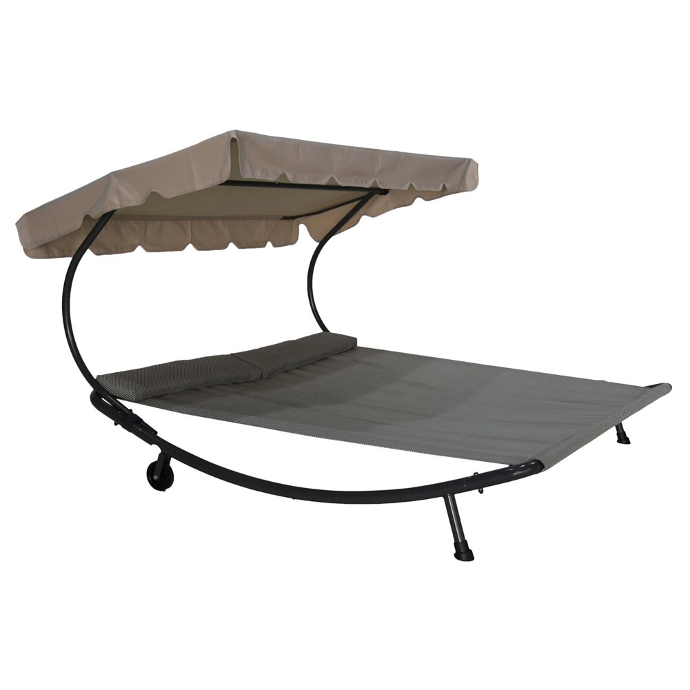 Abba Patio Outdoor Portable Double Chaise Lounge Hammock Bed with Sun Shade and Wheels, Grey by Abba Patio