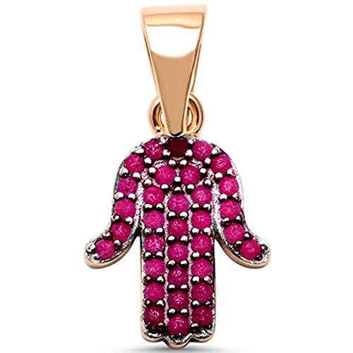 Sterling Silver Rose Gold Plated Simulated Ruby Hand of Hamsa Evil Eye Charm Pendant (Ruby Eyes Pendant)