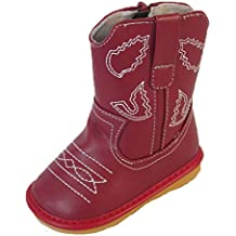 Squeaky Shoes Toddler Red Leather Cowboy/Cowgirl Boots