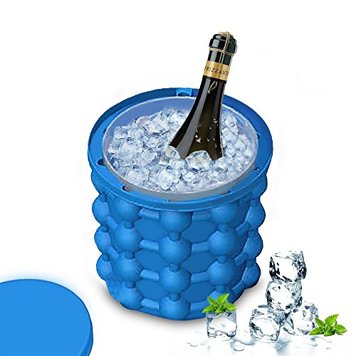 Larruping 5.5″ Silicone Ice Cube Trays Molds Ice Bucket, Revolutionary Space Saving Ice Genies Ice Ball Maker Dual-use Ice Cube Maker For Chilling Burbon Whiskey,Cocktail,Beverages and More