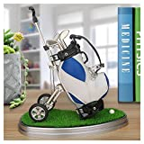Golf Pens with Golf Bag Holder,Novelty Gifts with 3 Pieces Aluminum Pen Office Desk Golf Bag Pencil Holder for Men Fathers Day,Golf Souvenirs Unique Gifts For Golfer Fans Coworker