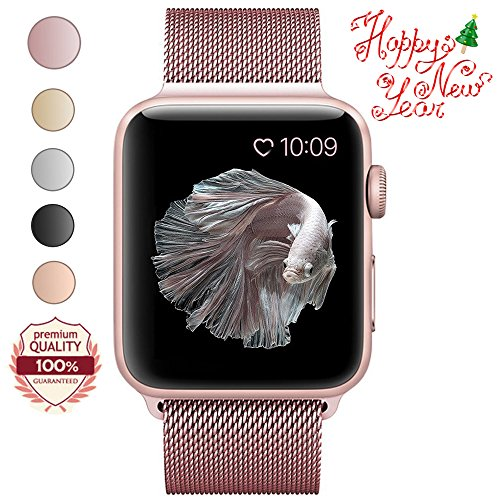 LWCUS Milanese Loop Stainless Steel Magnetic Apple Watch Band (38MM-Series1/2 Pink Rose Gold)