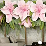 LHDLily 3D Wallpaper Mural Wall Sticker Thickening Custom Three-Dimensional Relief Pink Flower Leaf Room Living Room Brick Wall Tv Wallwallp 300cmX200cm