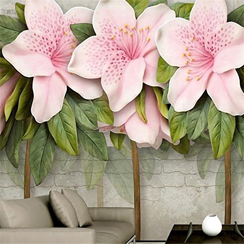 LHDLily 3D Wallpaper Mural Wall Sticker Thickening Custom Three-Dimensional Relief Pink Flower Leaf Room Living Room Brick Wall Tv Wallwallp 300cmX200cm by LHDLily