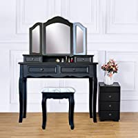 Attraction Design Wood Vanity Table Set Dressing Table with Cushioned Stool Vanity Makeup Table Black (Four Drawers)