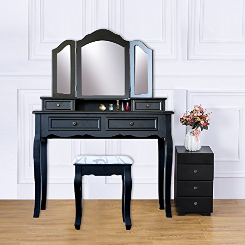 Attraction Design Wood Vanity Table Set Dressing Table with Cushioned Stool Vanity Makeup Table Black (Four Drawers) by Attraction Design