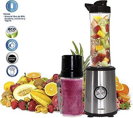 Licuadora de Vaso Individual Botella portátil + Botella al vacío Vital Way Vac de Axsom, Licuadora para Frutas y Verduras con Dos Velocidades Batidora para Fruta Portátil. batidora Vaso Individual: Amazon.es