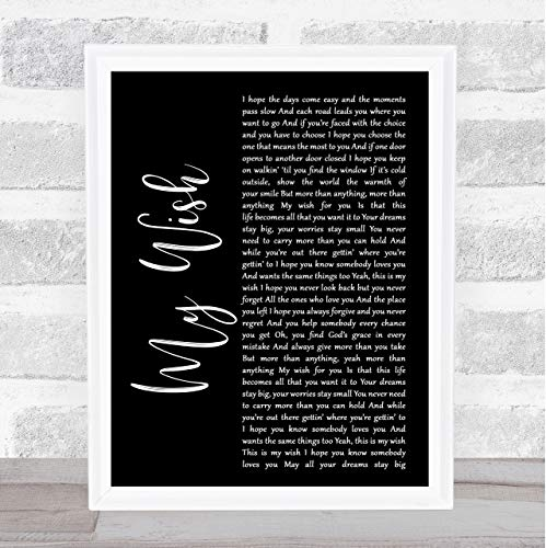 Rascal Flatts My Wish Black Script Song Lyric Print from The Card Zoo
