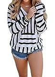 Women's Stripe Print Hoodie Sweater Pullover Top Shirt With Kangaroo Pocket size M (Black)