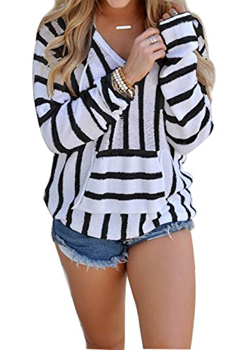 Juniors Pullover Stripe Sweater - Women's Stripe Print Hoodie Sweater Pullover Top Shirt With Kangaroo Pocket size L (Black)
