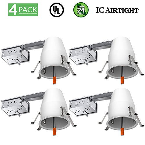 Sunco Lighting 4 Pack 4 Inch Remodel LED Light Can Air Tight IC Housing, Recessed Lights, LED Downlight, For Retrofit Kit, Electrician Prefered - UL Listed and Title 24 Certified (TP24) by Sunco Lighting
