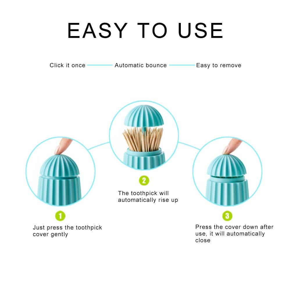 Xiton 1PC Handpresse Zahnstocher Spender Haus Automatische Pop up Zahnstocher Inhaber Zahnstocher Container Blau