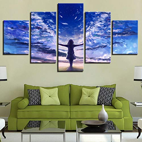 (sasdasld Modular Canvas Prints Poster Living Room Decor Framework 5 Pieces Angel Lonely Anime Girl Pictures Wing Paintings Wall Art-40CMx60/80/100CM)