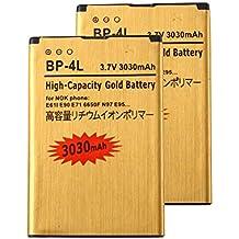 2 pcs Gold Extended Nokia E71 E72 E90 N97 High Capacity Battery BP-4L For Nokia E61i N810 / Nokia E52 E55 E6-00 E61i E63 / Nokia E71 E72 E90 N97 3030 mAh