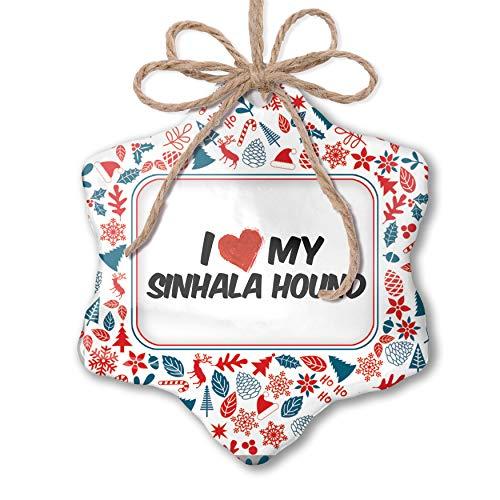 NEONBLOND Christmas Ornament I Love My Sinhala Hound Dog from Sri Lanka Red White Blue Xmas