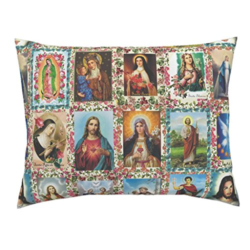 Roostery Fabric Euro Knife Edge Pillow Sham Religious Catholic Saints Collage Jesus Mary by Anette Teixeira 100% Cotton Sateen by Roostery
