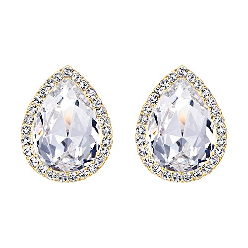 EVER FAITH Women's Austrian Crystal Wedding Teardrop Stud Earrings Clear Gold-Tone