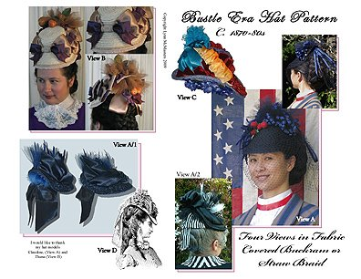 Victorian Style Hats, Bonnets, Caps, Patterns Early 1870s (Bustle Hat) Hat Pattern $13.95 AT vintagedancer.com