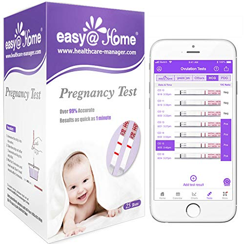 Easy@Home 25 Pregnancy (HCG) Urine Test Strips, FSA Eligible, Powered by Premom Ovulation Predictor iOS and Android APP…