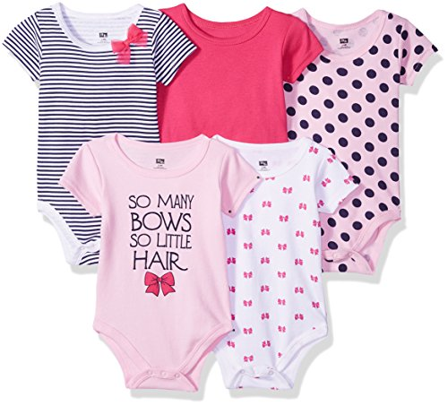 HUDSON BABY Unisex Baby Cotton Bodysuits, So So Many Bows 5 Pack, 9-12 Months (12M)