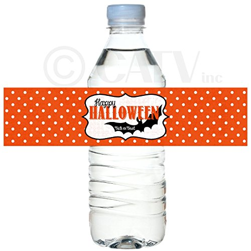 H102 Halloween Party set of 50 waterproof self adhesive water bottle label vinyl peel and stick school class party dots bats trick or treat (Orange) ()