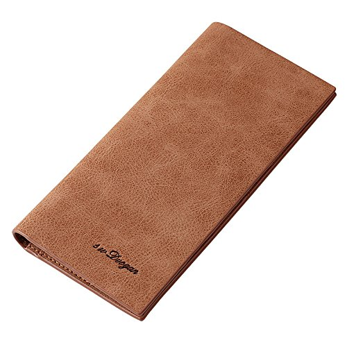 Mens Breast Pocket Wallet - Mfeo 0.5cm Genuine Leather Durable Slim Wallets Long Bifold Multi-Card Wallet (1-Coffee)
