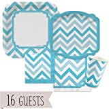 Big Dot of Happiness Chevron Blue - Party Tableware Plates, Cups, Napkins - Bundle for 16
