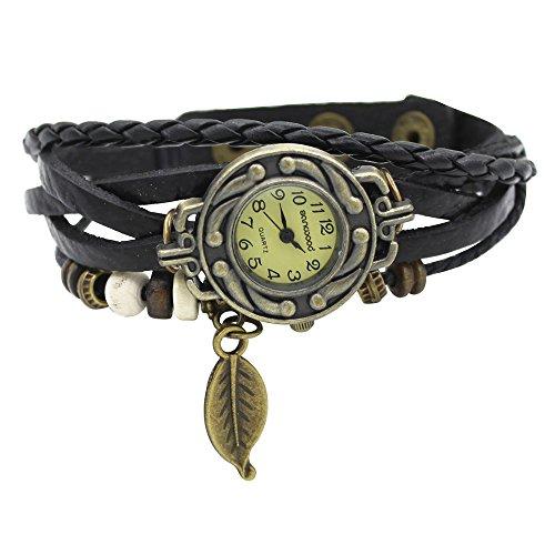 Damen Retro Baum Blatt Leder Armkette Armband Armbanduhr Uhren Uhr Watches Schwarz