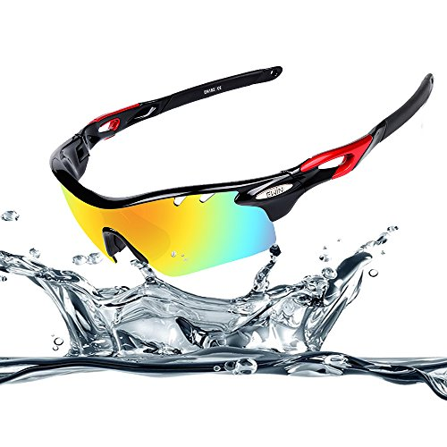 Ewin E11 Polarized Sports Sunglasses with 4 Interchangeable Lenses for Men Women Golf Cycling Driving Fishing Running Glasses TR90 Unbreakable Frame Anti-fogging Waterproof Lens (Black&Red)