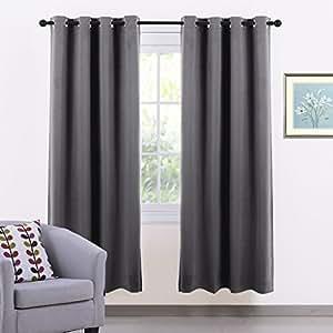 Ponydance cortinas opacas cortas gris de salon dormitorio for Cortinas cortas salon