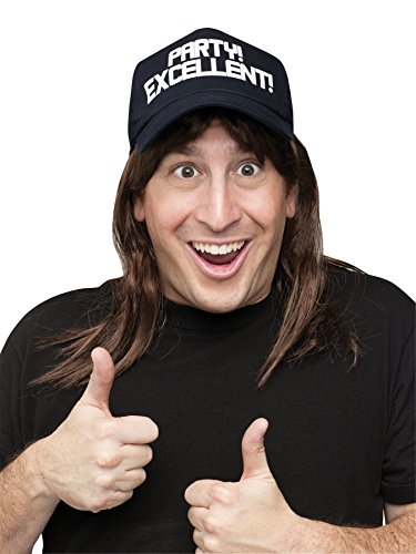 Men's Saturday Night Live Wayne's World Wig w/ Hat Halloween Costume - World Hair With Hat Wayne's