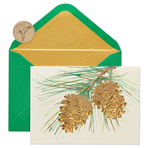 Papyrus Pine Cones Boxed Holiday Cards, 14-Count