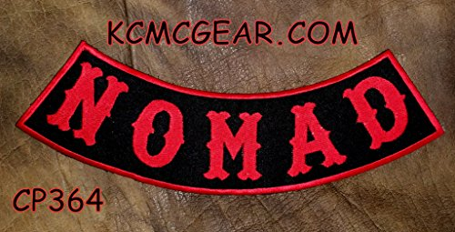 NOMAD Red on Black with Boarder Bottom Rocker Patches for Vest (Red And Black Rocker Patch)