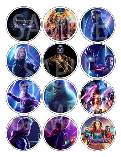 """Avengers Endgame Stickers, Large 2.5"""" Round Circle Stickers to Place onto Party Favor Bags, Cards, Boxes or Containers -12 pcs Marvel Comics Anti-Hero Eddie Brock ()"""