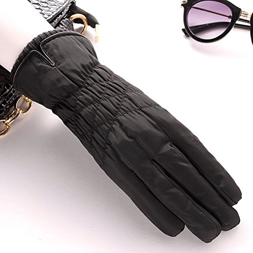 cold Black touch Winter outdoor plus Zhhyltt screen driving cotton thick feather gloves warm cashmere ladies P76pwa