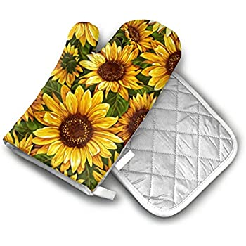 AISDHAJKSD Vintage Sunflowers Premium Terylene/Nylon Oven Mitts and Pot Mat,Pot Mat/Hot Pads, Heat Resistant Gloves BBQ Kitchen