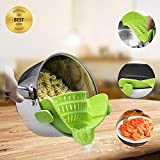 DTalent Clip on Silicone Strainer FDA Approved Fits All Pot, Pan & Bowls Best for Anti-spill Food Pasta Spaghetti Vegetables Ground Beef Grease Colander - Green