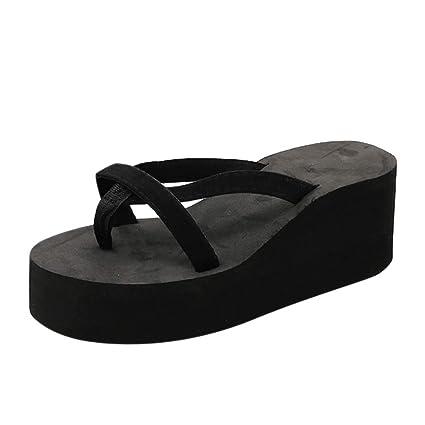 295aaf4b0 Dreamyth-Shoes Women's Summer Beach Flip-Flops High-Heeled Wedge with Thick-