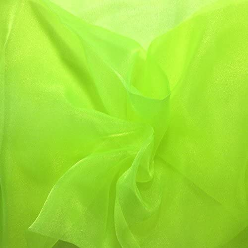 Scroll Glitter Organza in Green By the Yard Organza Fabric