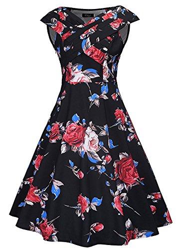 Ruiyige - Vestido - para mujer Mancherons-Impression Rose Noir