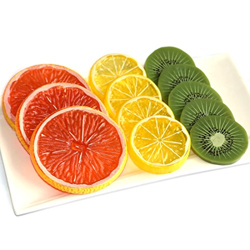 DLUcraft Highly Simulation Fake Slice Artificial Fruit Model Home Party Decoration(Kiwifruit+Lemon+Orange-12 PCS by DLUcraft
