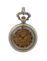 Bronze Tone See Though Case Pattern Hand Wind Skeleton Chinese Zodiac Mens Mechanical Pocket Watch