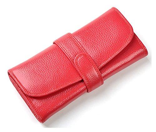 Longzibog Dual verstellbare Schultergurte und Hängeschlaufenband Mode geldbörse damen lang Rosa