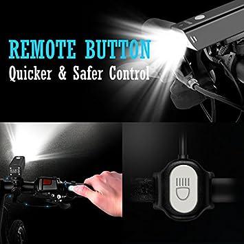 iKirkLiten Real 600 Lumens Bike Lights Front and Back, USB Rechargeable Bike Headlight w Tail Light Bike Lights Set, Aluminum Alloy IPX6 Waterproof Bicycle Light w Remote Button, 5 Lighting Modes