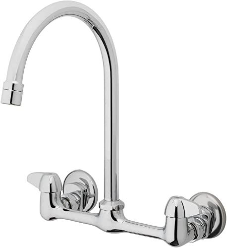 Homewerks 3190-40-CH-BC-Z Two Handle High-Arc Wallmount Kitchen Faucet